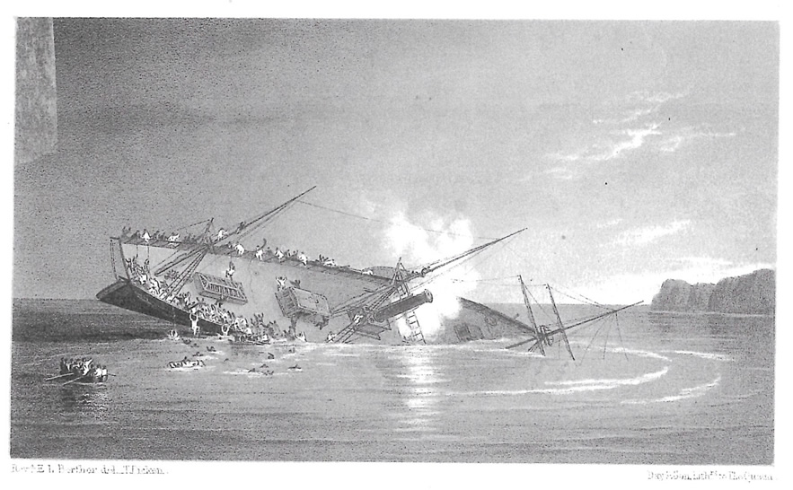 An artist's impression of the SS Orion which was lost just outside Portpatrick harbour on 18th June 1850